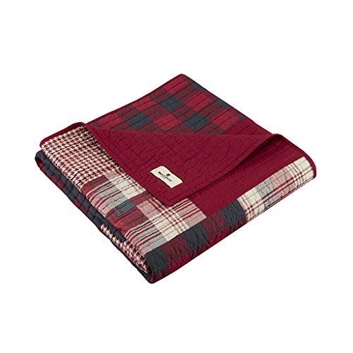 Woolrich Sunset Luxury Quilted Throw Red 50x70 Plaid Premium Soft Cozy 100% Cotton For Bed, Couch or Sofa