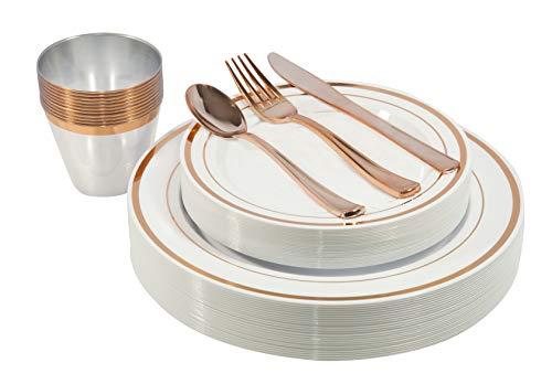 150 Stück – Gold Einwegteller, Becher und Fancy Kunststoff Silbergeschirr Set – für Partys, Abendessen, Hochzeiten und Weihnachten (Roségold) rose gold