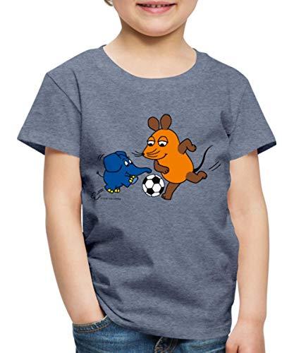 Sendung Mit Der Maus Fußballspiel Kinder Premium T-Shirt, 110-116, Blau meliert