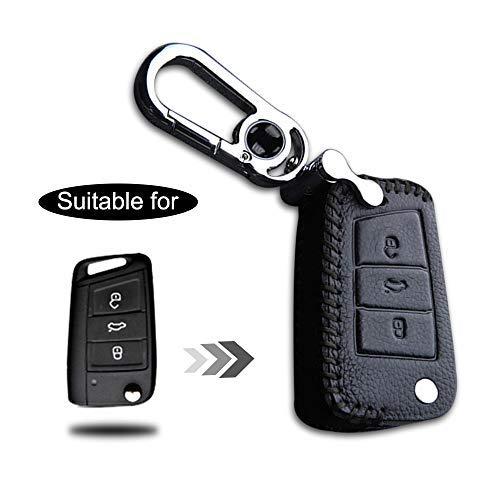 Schlüssel Hülle Leder Auto Schlüsseltasche mit schlüsselanhänger für 3-Tasten Klappschlüssel Fernbedienung Autoschlüssel Schwarz Nähen 1 Stück Modell B