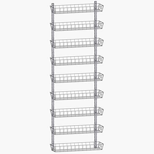 SWOMMOLY Adjustable Wall Mount Spice Rack 9-Tier Dual-use Multi-use Organizer Silver