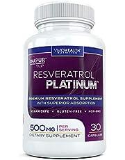 Resveratrol Platinum Anti Aging Supplement with Trans-Resveratrol, 30 Capsules
