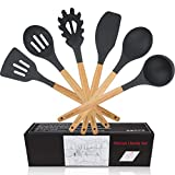 WACOOL 6 Piece Silicone Cooking Kitchen Utensil Set Tools with Wood Handles Turner Tongs Spatula Spoon BPA Free Non Toxic