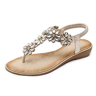 iCKER Women Rhinestone Sandals T-Strap Buckle Bohemian Pearl Crystal Flat Sandals-3016 Gold-7.5
