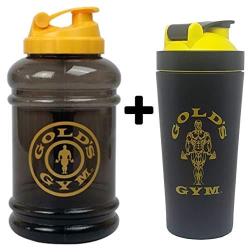 Gold's Gym Bodybuilding Fitness Accesorios – Bolsas, Botellas de Agua, batidoras de proteínas y Toallas (Jarra de Agua + agitador de Metal)
