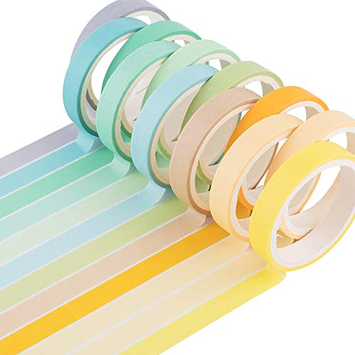 YUBBAEX 12 Rolls Natural Washi Tape Set Candy Color Decorative Tapes for DIY Bullet Journal Craft Wrapping Scrapbook Macaron 8mm x 12 Rolls