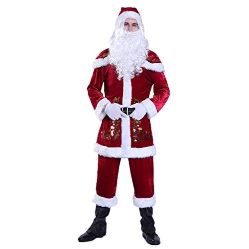 Goldatila Nuovo Vestito da Babbo Natale, Costume da Uomo per Uomo, Formato Adulto con Cappello + Barba + Cintura + Guanti, Costume Cosplay Fasion Santa