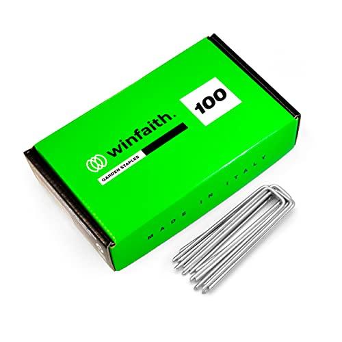 Winfaith Picchetti Telo Pacciamatura in Acciaio H100 x L21 x D3 mm Pezzi 100 Terreno Duro - Made in Italy EN 10204 3.1 Zincato a Caldo - Antiruggine Giardino Erba Sintetica Ancoraggio Tubi
