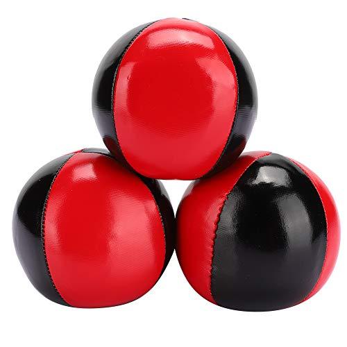 Jonglierball 3 PCS, tragbarer Jonglierball Rot Schwarz Leder Jonglierball Indoor Spiel Jonglierball für Anfänger Kinder Erwachsene