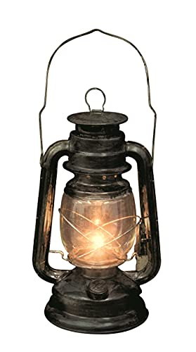 Rustic Old Fashioned Light Up Lantern, Metal/Glass