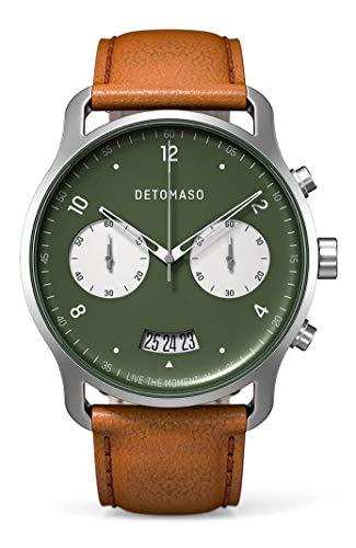 DETOMASO SORPASSO - Reloj de pulsera analógico con cronógrafo, color verde, movimiento de cuarzo, correa de piel italiana marrón