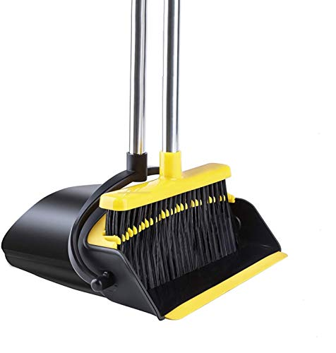 BOSERI Broom and Dustpan [2020 Upgrade] Dust pan Broom Set with Upgrade Combo and Sturdiest Extendable Long Handle,4 Layers Bristles,Upright Standing for Home, Office, Kitchen, Lobby