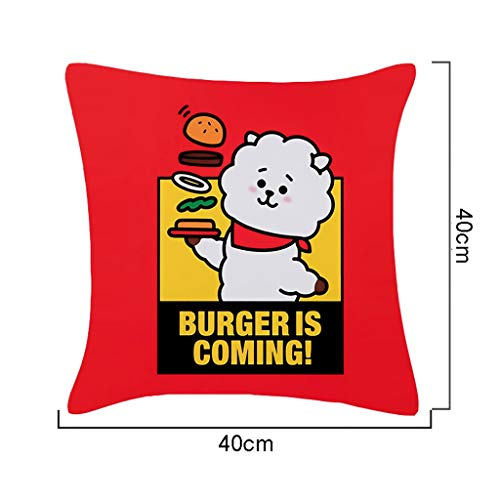 ZYFXZ BTS Cute Cartoon Print Cushion Covers 40X40CM [Love Yourself ? Answer] Decorative Throw Pillow Covers Spandex Square Pillowcases For Couch Sofa Bed Best Gift for A.R.M.Y (Color : A)