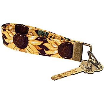 Celokiy Sunflower Wristlet Keychain Bracelet for Women 100% Cotton Fabric Key Chain  C