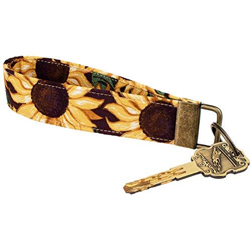 Celokiy Sunflower Wristlet Keychain Bracelet for Women, 100% Cotton Fabric Key Chain (C)