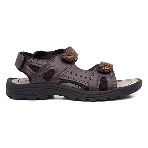 RED FISH Mens Brown Sport Touch Fasten Sandal - Size 8 UK - Brow