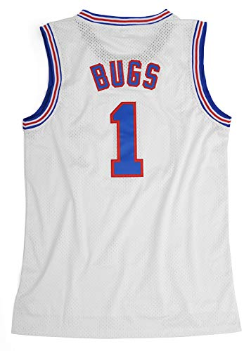 Men's Basketball Jersey #1 Bugs Bunny Space Jam Jersey Movie Shirts White/Black S-XXL