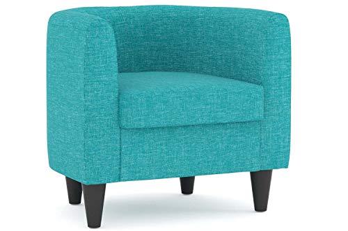 Confort24 Mussy Butaca de Salón o Dormitorio Sillon Individual Muebles de Diseño Moderno Pequeña para Decoracion en Tela Azul Turquesa