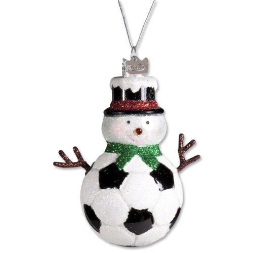 Kurt Adler Noble Gems Glass Soccer Snowman Ornament
