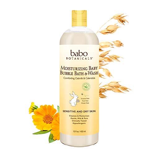 Babo Botanicals Moisturizing Baby 2-in-1 Bubble Bath & Wash with Natural Oatmilk and Organic Calendula, 15 Fl Oz