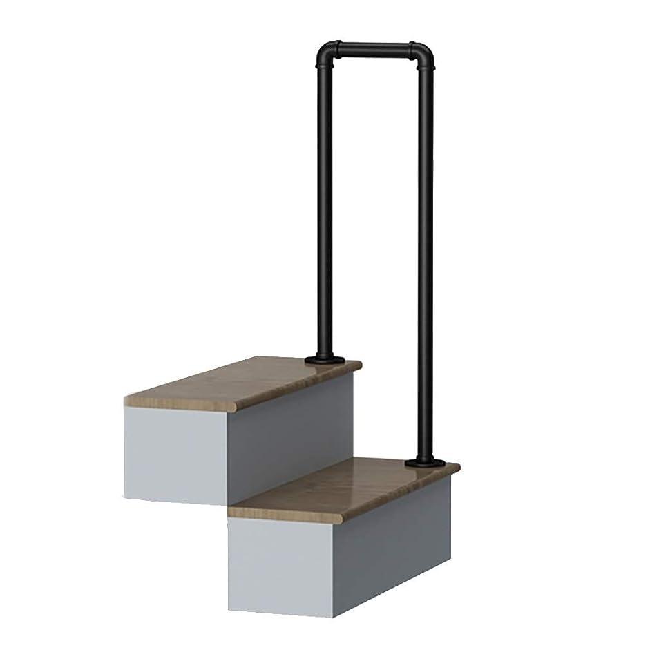 簡略化する年トレース階段手すり2段階移行型手すり、U字型マットブラック錬鉄製階段手すり、取り付けキット付き、階段手すり用屋内および屋外手すり (Size : 55cm/1.8ft)