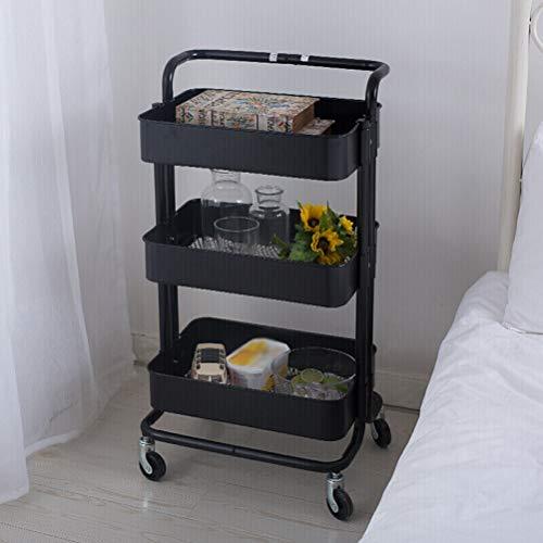 Wall Shelves - Moderner 3-Tier-Stand-Aufbewahrungswagen aus Kohlenstoffstahl, Arbeitsplatzregal mit Rollen Home Decor Storage Racks (Farbe : SCHWARZ, größe : 45X35X87CM)