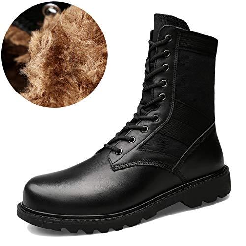 Wygwlg Botas de Combate Militares de los Hombres Impermeables Zapatos de Entrenamiento del ejército táctico duraderos Calzado de Seguridad Botas Patrulla de la policía,Black Plus velvet-37
