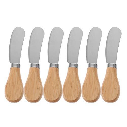 Angoily 6 Unidades Cuchillo Escurridor de Mantequilla Cuchillo Escurridor de Queso de Acero Inoxidable con Mango de Madera para Mantequilla Fría para Uso en Cocina