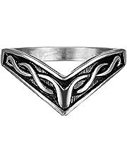 Anello a Forma di Run ad Anello di Viking da Uomo Norwegian Myth Lucky Amulet Amulet Anello da Pirata retrò Anello Regalo di Fidanzamento,Argento