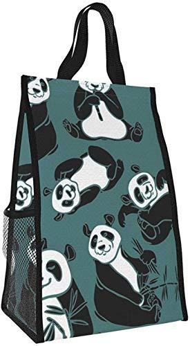 Bolso aislante plegable, lindo bolso portátil para almuerzo con panda, bolso de picnic de gran capacidad para viajes de oficina y trabajo