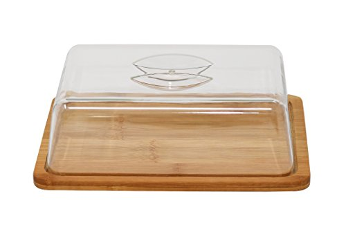 Home-X - Bamboo Cutting & Cheese Board with Serving Tray & Clear Acrylic Cover, Cut, Serve and Store Cheese All on the Same Board with No Need for Plastic Wrap