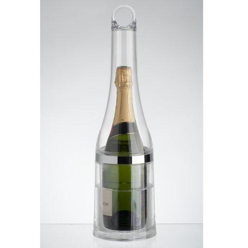La Chaise Longue 32-K1-009 Seau à champagne ou glace et rafraîchisseur Bouteille Avec pince à glaçons Double paroi isotherme Transparent et gris chrome Acrylique et métal D13 x H46 cm