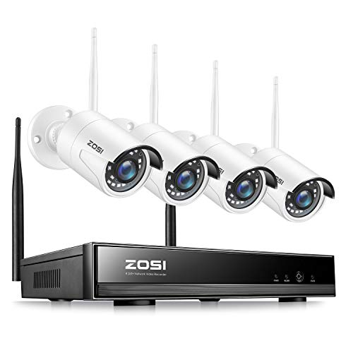 ZOSI Wireless Security Cameras System H.265+ 8Channel 1080P Video Surveillance NVR and 4pcs HD 1080P 2.0MP Weatherproof WiFi IP Cameras with 65ft Night Vision,Motion Detection,No Hard Drive