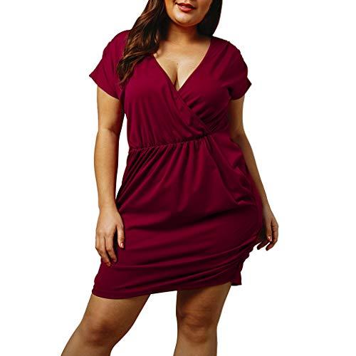 Deloito Sommer Urlaub Damen Polka Dot Sexy Kleid V-Ausschnitt Bodycon Kurzarm Minikleid Overall Kleid Strand Jumpsuit Strampler (Weinrot-B,XXX-Large)