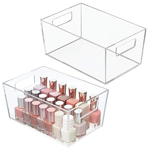 mDesign boîte de rangement avec poignée pour cosmétiques (lot de 2) – rangement salle de bain en plastique pour le lavabo ou le placard – rangement maquillage pour make up, etc. – transparent