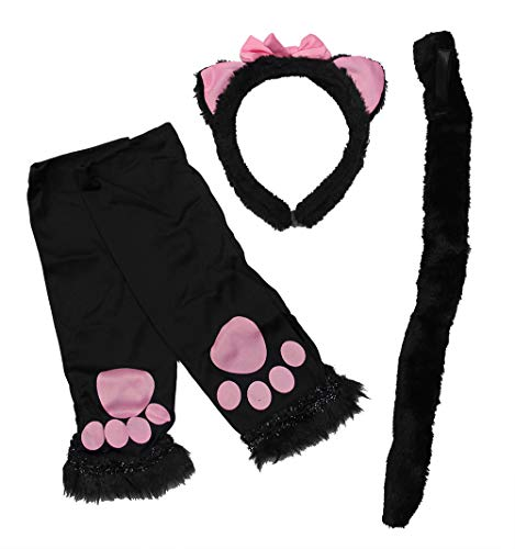Velvet Kitten 4 Piece Kitty Cat Sexy Costume Accessory Kit in Black and Pink