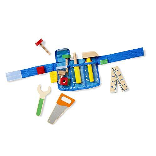 Melissa & Doug Deluxe Tool Belt Set - 5 Wooden Tools, 8 Building Pieces, Adjustable Belt