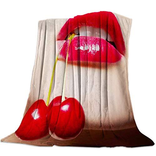 Moily Fayshow Fleece Blanket Throws Blanket Kirschroter Lippenstift Für Sofa Couch Dekorativ Ganzjährig Warme Leichte Decken 60 'x 50'