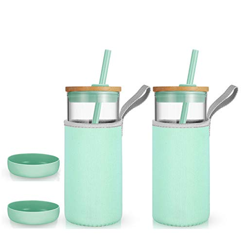 Tronco 20oz Glass Tumbler Glass Water Bottle Straw Silicone Pedestal Sleeve Bamboo Lid With Removeable Soft Insulator Sleeve - BPA Free (Mint, 2 Pack)