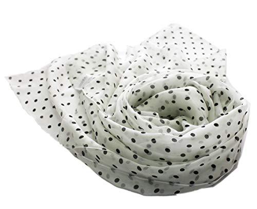 prettystern Damen leicht Chiffon Seiden-Schal Polka Dots Punkte gepunktet - 200/65 schwarz weiß