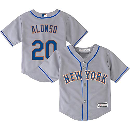 Outerstuff Pete Alonso New York Mets #20 Gray Infants Cool Base Road Jersey (12 Months)