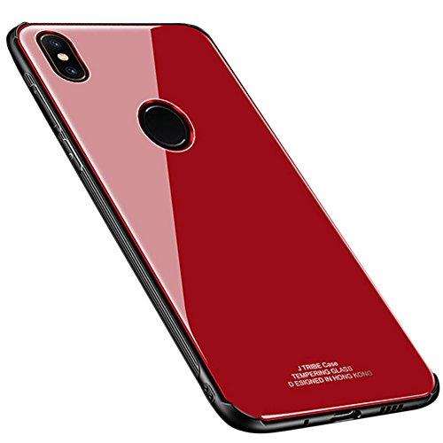 Kepuch Quartz Case Capas TPU &Voltar (Vidro Temperado) para Xiaomi Mi Mix 2S - Vermelho