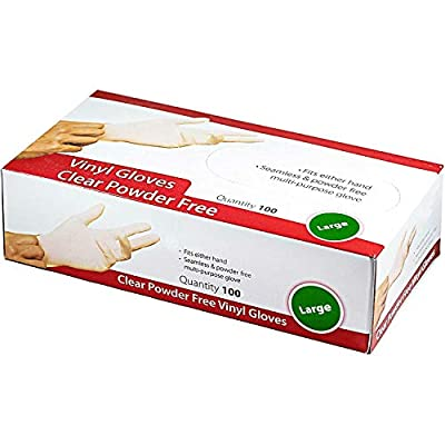 Disposable Clear Vinyl Exam Gloves Industrial Gloves - Latex-Free & Powder-Free(100PCS) - Large