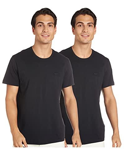 BOSS T-Shirt RN 2p Co Camiseta, Negro (Black 1), Small (Pack de 2) para Hombre
