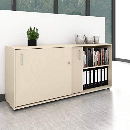 Weber Büro Schiebetürenschrank Sideboard NOVA 2OH 1.640 x 740 mm Ahorn