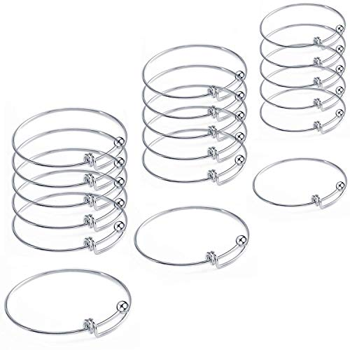 18 Pcs Stainless Steel Expandable Wire Blank Bangle Bracelet for Womens DIY Jewelry Making (Quality Stainless Steel Bracelets)