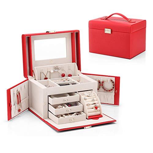 Joyero europeo para niña, caja de joyería de gran capacidad, ideal para regalar a novia, elegante, minimalista, con espejo, anillo de gran capacidad (color: blanco, tamaño: 25,5 x 18,5 x 17,5 cm)