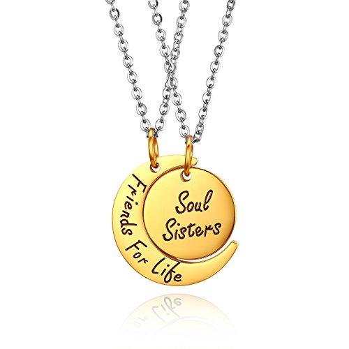 JewelryWe Collana Aperta da Donna Uomo Ragazzi Incisione Regalo con Ciondolo Forma Luna Sole Friends for Life Collana Amicizia