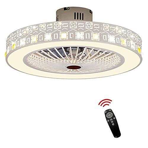 Ventilador de techo LED con luz, regulable, silencioso, con mando a distancia, para dormitorio, salón, habitación de los niños, restaurante, lámpara de araña, C-L