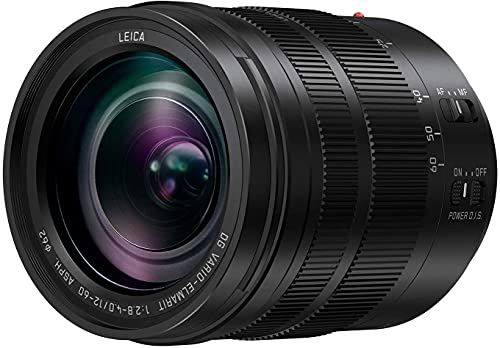 Panasonic LEICA DG VARIO-ELMARIT H-ES12060 - Objetivo Zoom estándar para cámaras de montura M4/3 (Focal 12-60 mm, F2.8-F4, lentes asféricas, tamaño filtro 62 mm, POWER O.I.S), negro